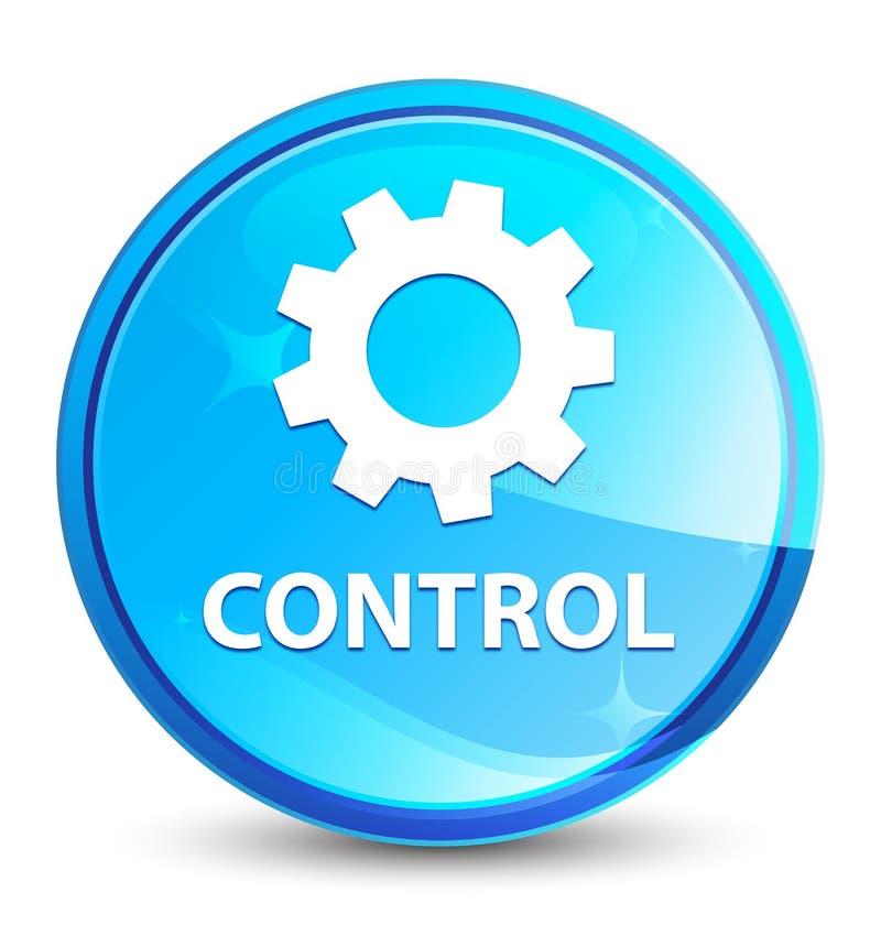 El control (icono de los ajustes) salpica el botón redondo azul natural stock de ilustración