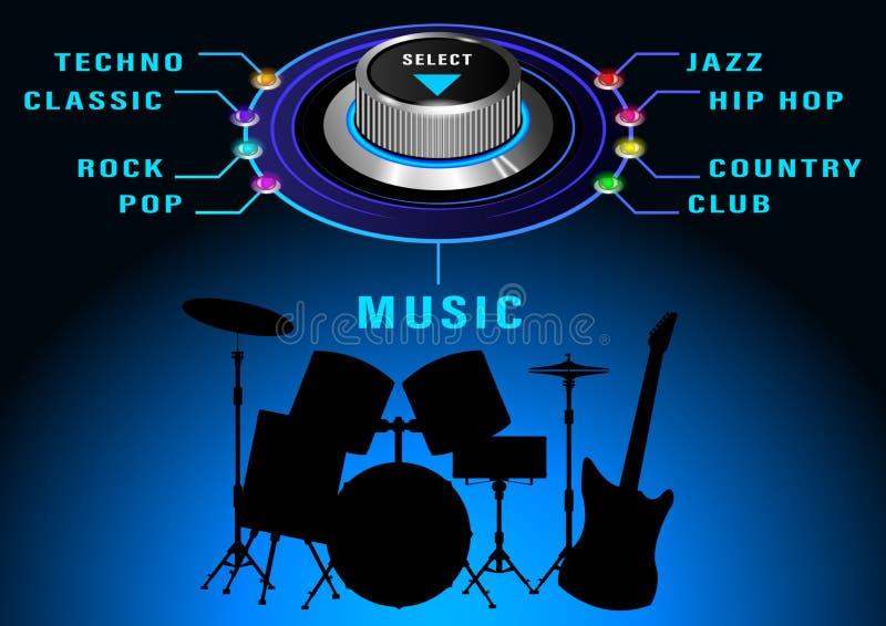 El control redondo más selest de la música stock de ilustración