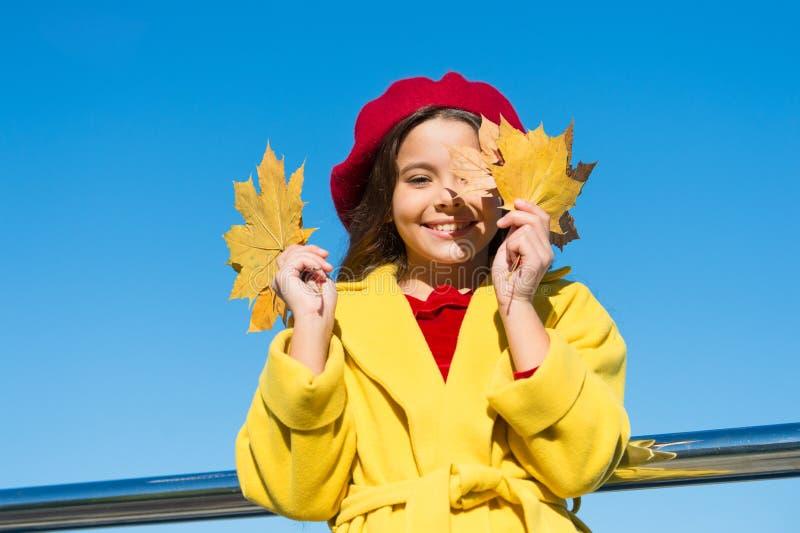 El control sonriente de la cara de la muchacha del niño sale del fondo del cielo Niño con el paseo de las hojas de arce del otoño imagenes de archivo