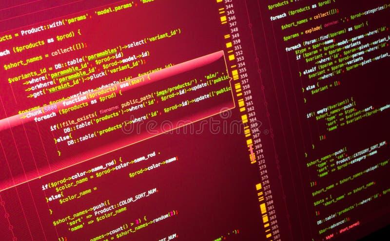 El convertirse del sitio Código del PHP en el ordenador Concepto de programación foto de archivo libre de regalías