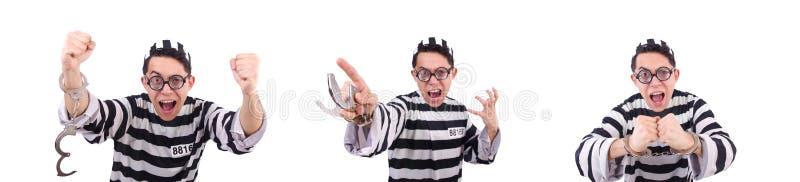 El convicto divertido aislado en el blanco imagen de archivo libre de regalías