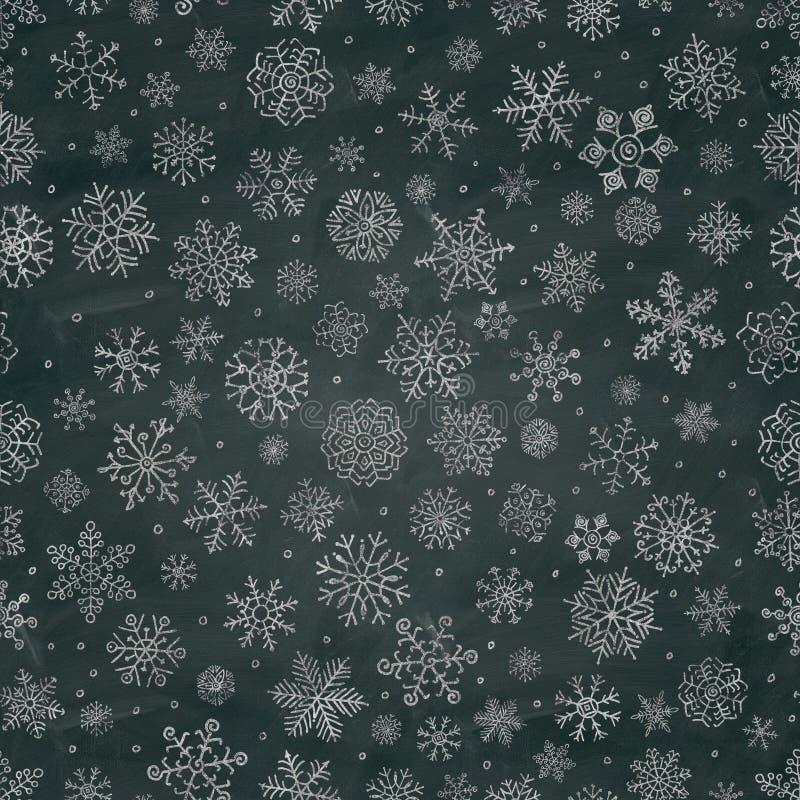 El copo de nieve del dibujo de tiza garabatea el fondo inconsútil stock de ilustración