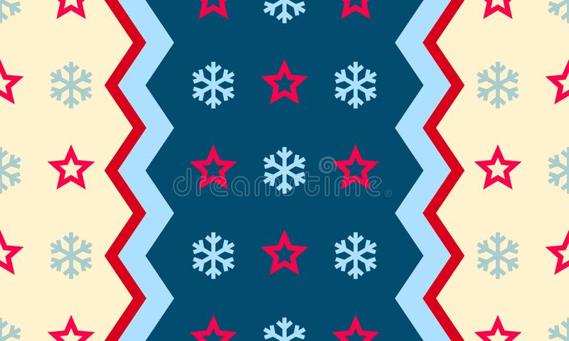El copo de nieve y la estrella de la Navidad vector el fondo inconsútil del modelo ilustración del vector
