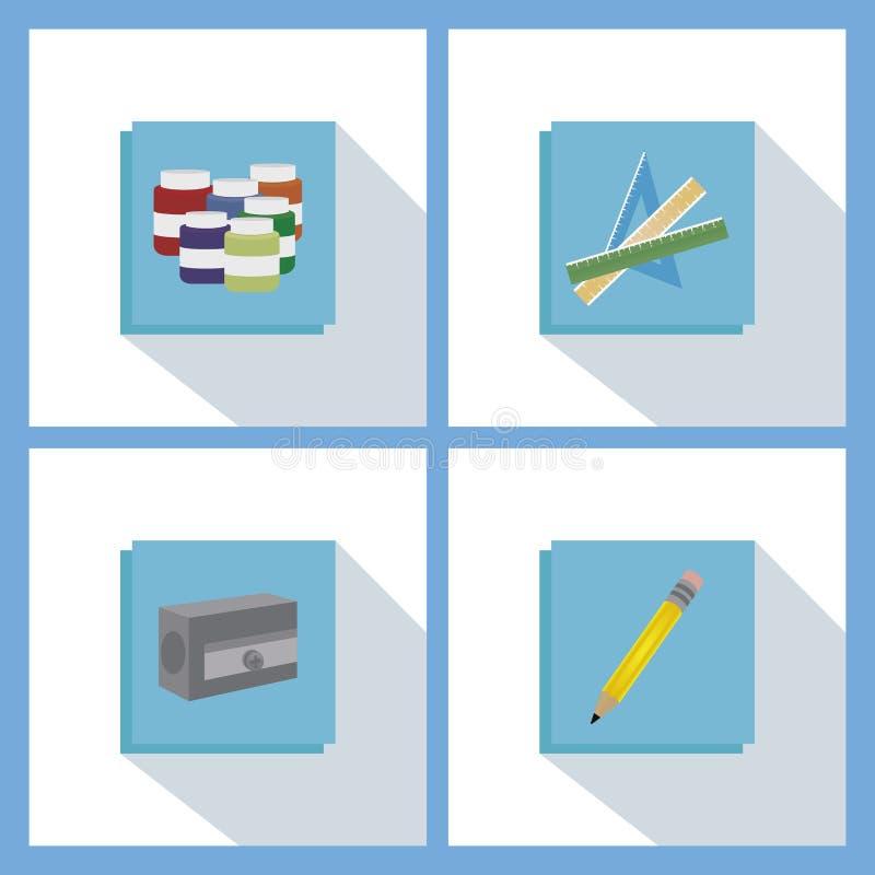 El Copybook, la pluma, el lápiz y el otro equipo ilustración del vector