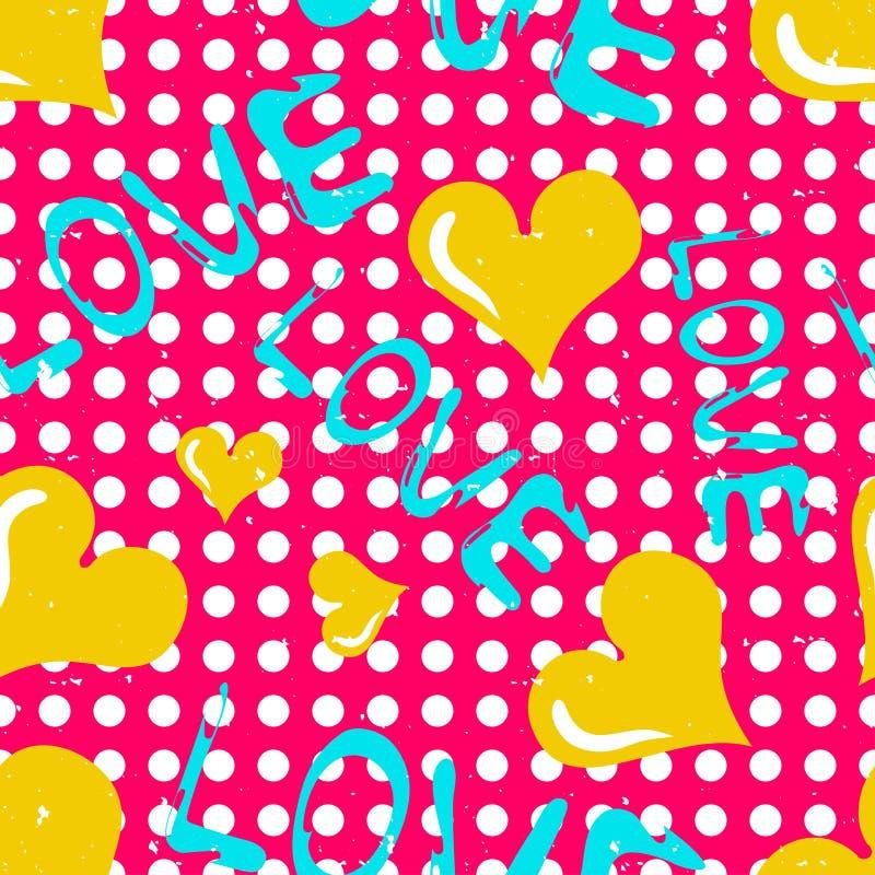 El corazón amarillo y una inscripción aman el modelo inconsútil ilustración del vector