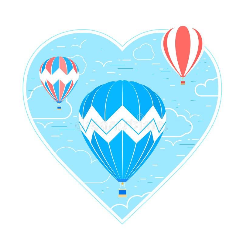 El corazón azul con las nubes y los pájaros lineares y aire caliente hincha en estilo de la historieta Ejemplo del vector aislado ilustración del vector