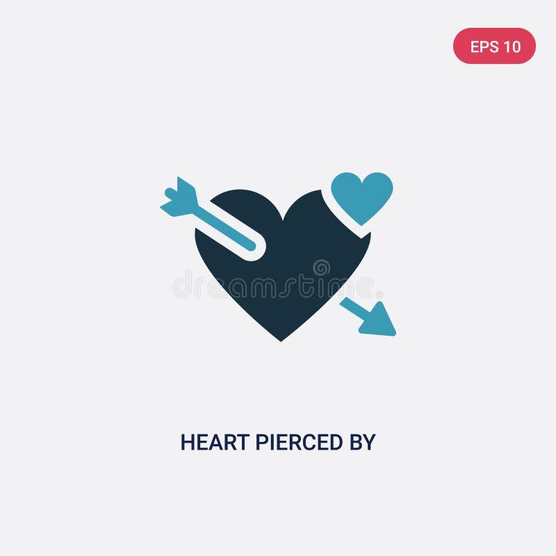 El corazón bicolor perforó por un icono del vector de la flecha del concepto de las formas corazón azul aislado perforado por un  ilustración del vector