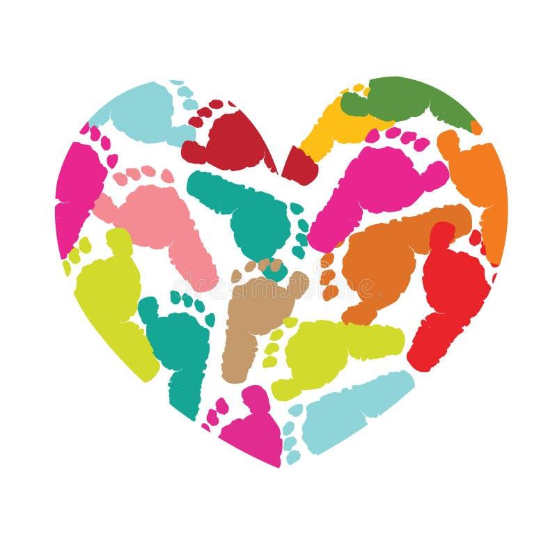 El corazón con el pie del bebé imprime vector stock de ilustración