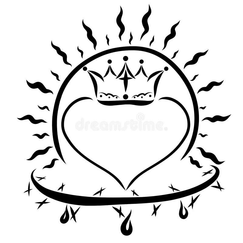 El corazón con la corona, el sol brillante y la corona de la espina stock de ilustración