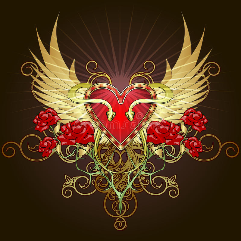El corazón con las serpientes libre illustration