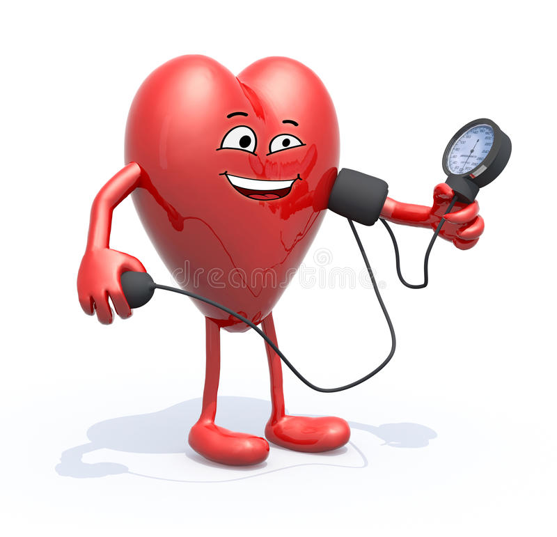 El corazón con los brazos y las piernas miden la presión arterial stock de ilustración