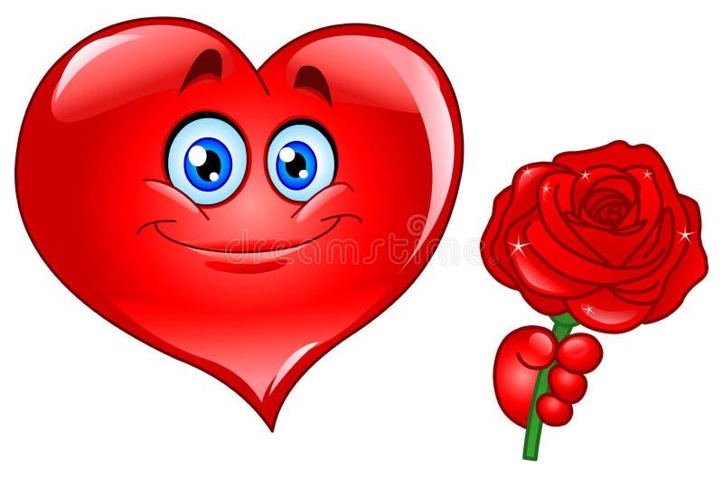 El corazón con se levantó stock de ilustración
