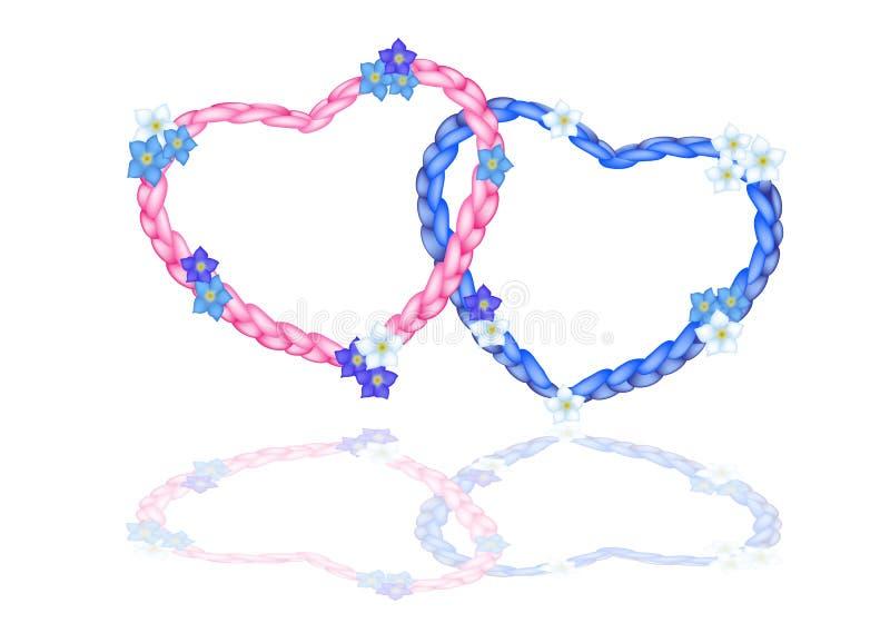 El corazón de dos cuerdas con me olvida no flor ilustración del vector