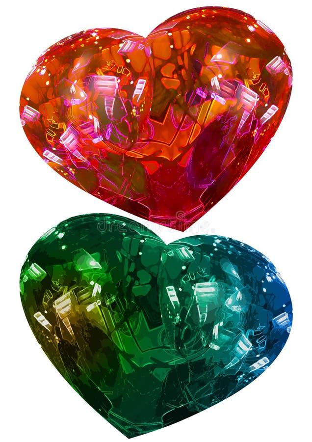 El corazón de dos tarjetas del día de San Valentín, tema del amor, aisló corazones verdes y rojos ilustración del vector