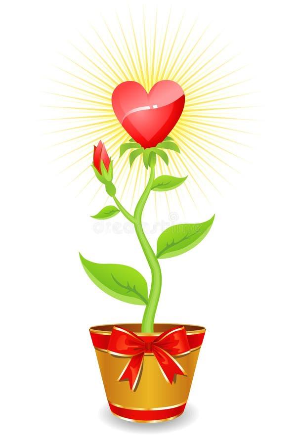 El corazón de la flor/crece con junto/vector del amor ilustración del vector