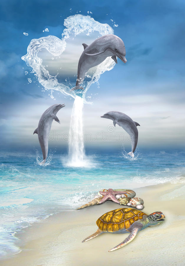 El corazón de los delfínes stock de ilustración