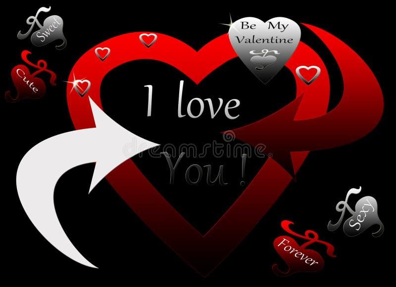 El corazón de plata negro rojo encadenó para siempre el suyo stock de ilustración