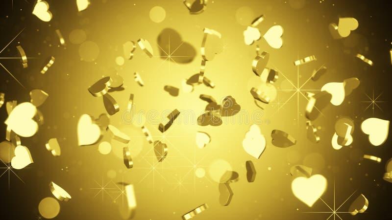 El corazón del oro forma el fondo del extracto 3D ilustración del vector