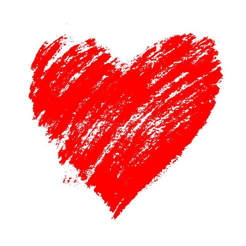 El corazón dibujado mano roja del grunge con salpica y los movimientos del cepillo Símbolo del día del amor y del ` s de la tarje ilustración del vector
