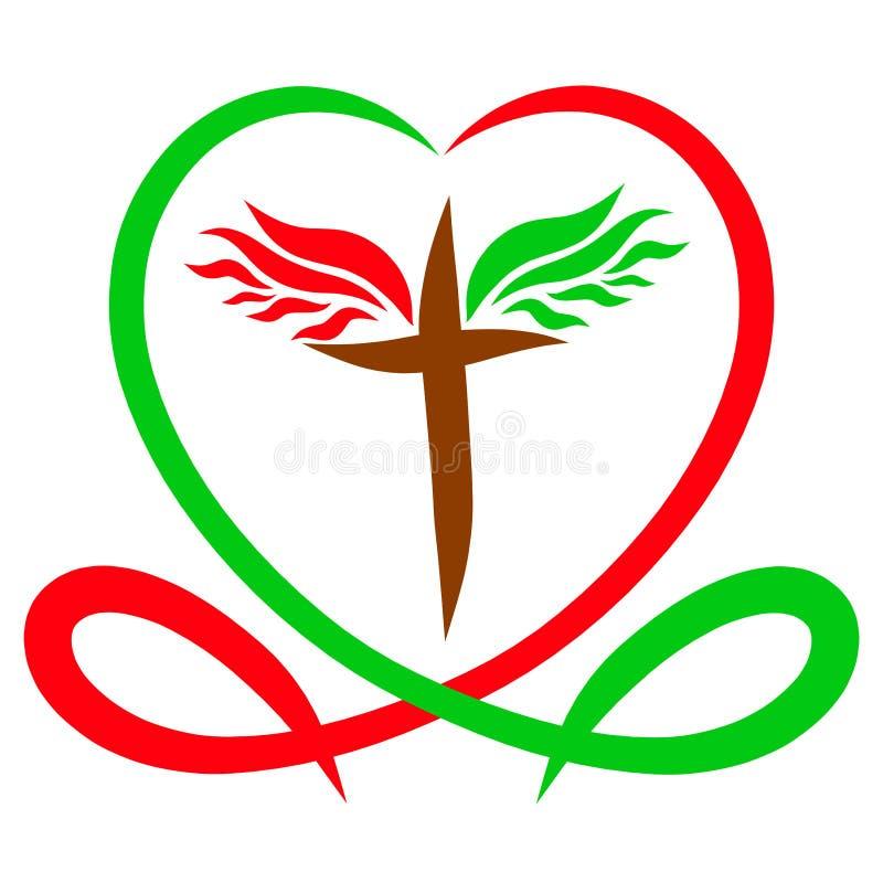 El corazón es el color de la vida y de la sangre, y la cruz coa alas, stock de ilustración