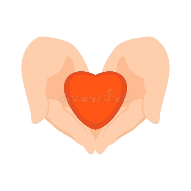 El Corazón Estilizado En Manos Humanas Vector El Plano Del Ejemplo ...