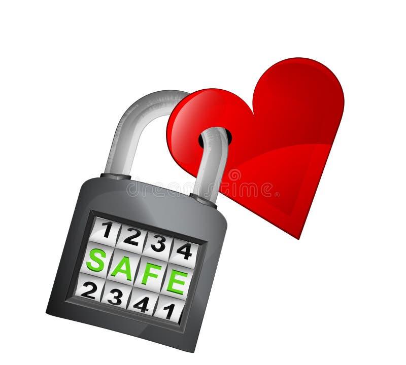 El corazón rojo cogido en candado cerrado seguridad aisló vector ilustración del vector