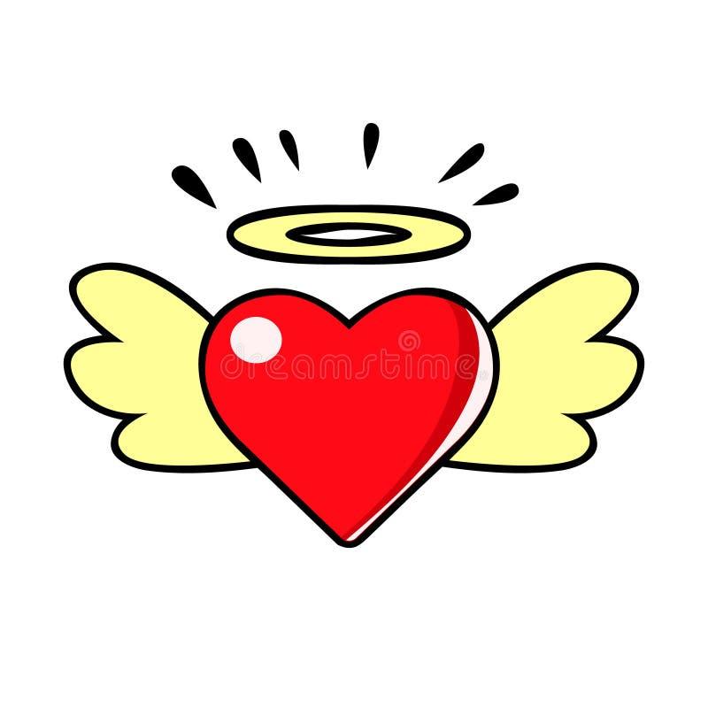 El corazón rojo con las alas y halo, vector el ejemplo cómico en estilo retro del arte pop libre illustration