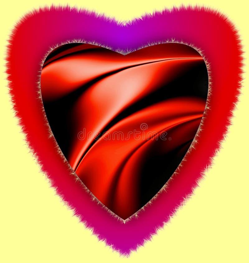El corazón rojo 3d colorido de la furia generado por ordenador teniendo onda del ejemplo del clip art del amor encendió imagen stock de ilustración