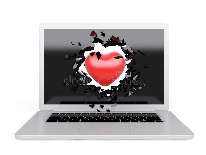 El corazón rojo destruye el ordenador portátil stock de ilustración