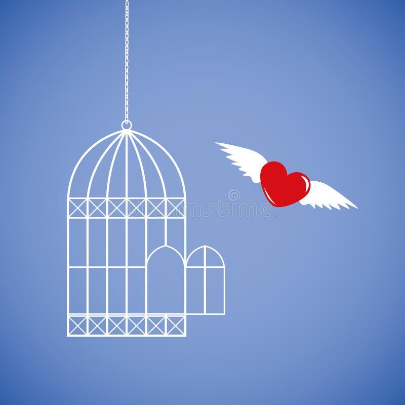 El corazón rojo está volando de la jaula stock de ilustración