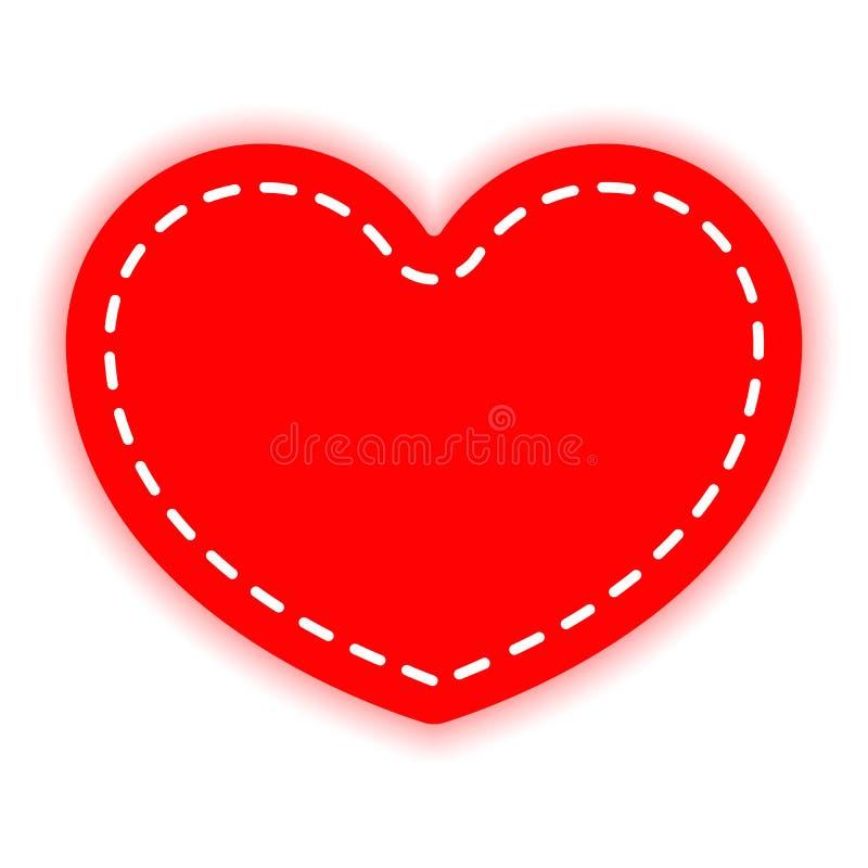 El corazón rojo se cose con el hilo blanco Elemento del diseño del vector, aislado en un fondo ligero ilustración del vector