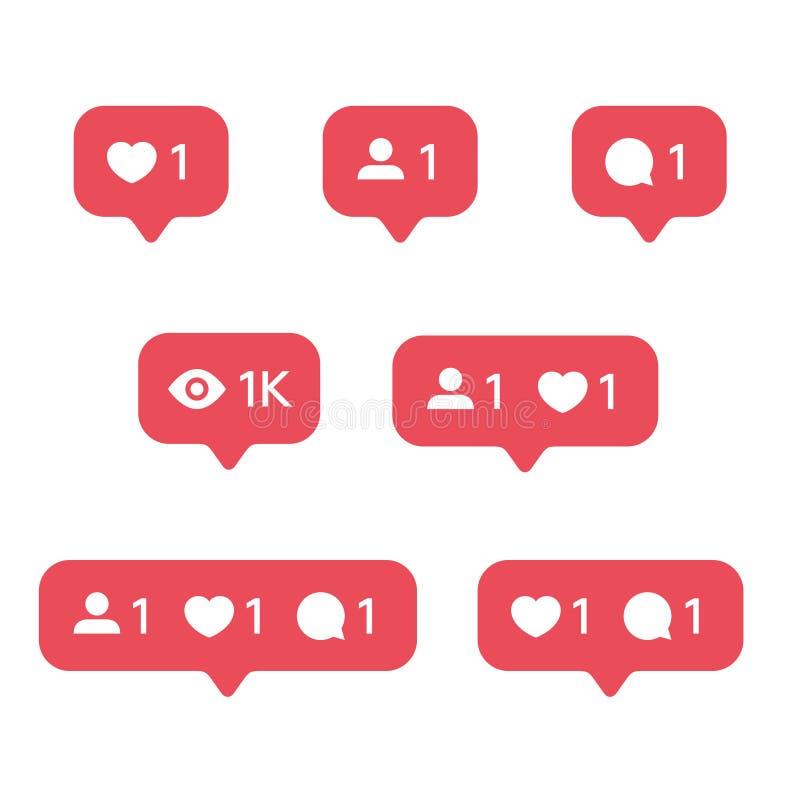 El corazón rojo tiene gusto, nueva burbuja del mensaje, plantillas de los iconos de las notificaciones del número de la cantidad  ilustración del vector