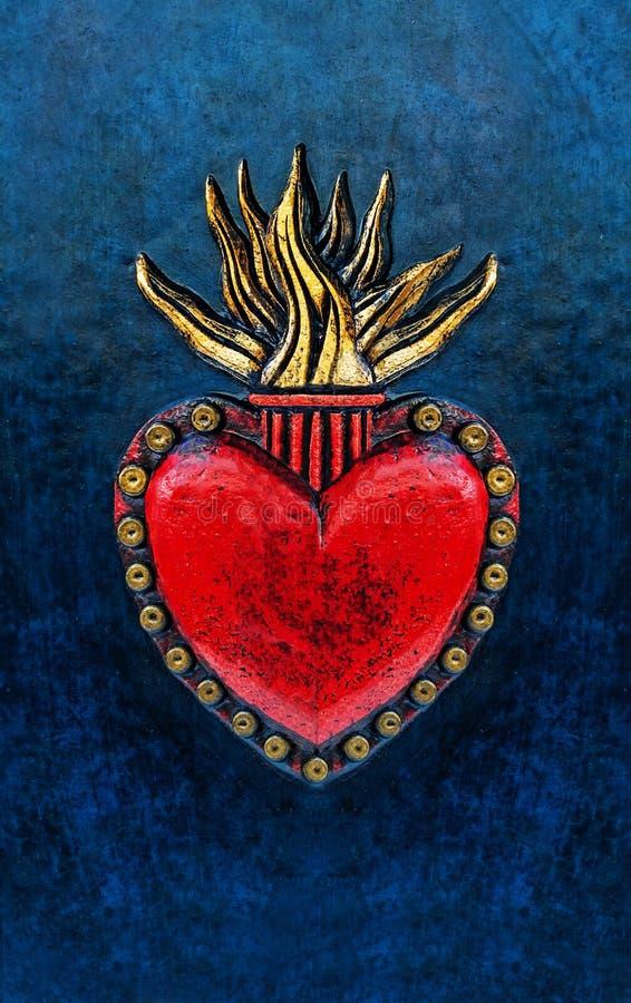 El corazón sagrado de Jesús, mano talló y doró el detalle de cuero montado a la cubierta de libro azul imagenes de archivo