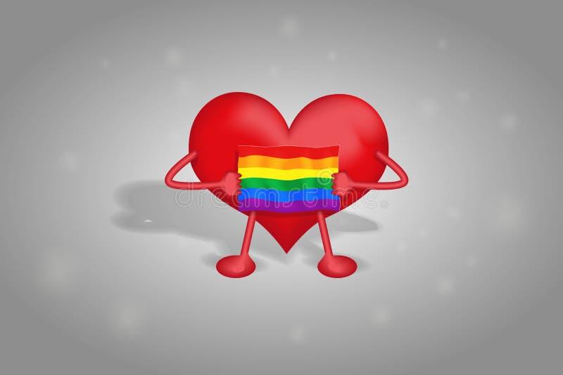 El corazón sostiene la bandera del LGBT en los colores del arco iris en un fondo gris con un reflejo fotos de archivo libres de regalías