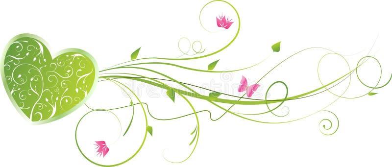 El corazón verde de la tarjeta del día de San Valentín con remolinos florales stock de ilustración