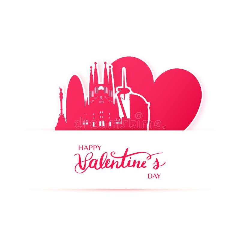 El corazón y la silueta rojos de la ciudad de Barcelona empapelan etiquetas engomadas ilustración del vector