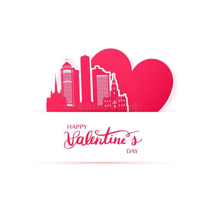 El corazón y la silueta rojos de la ciudad de Detroit empapelan etiquetas engomadas ilustración del vector