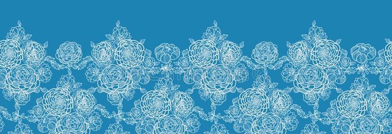 El cordón azul florece el modelo inconsútil horizontal stock de ilustración