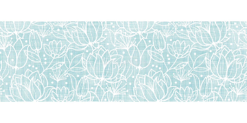 El cordón azul florece la frontera horizontal de la materia textil libre illustration