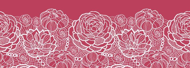 El cordón rojo florece el modelo inconsútil horizontal stock de ilustración