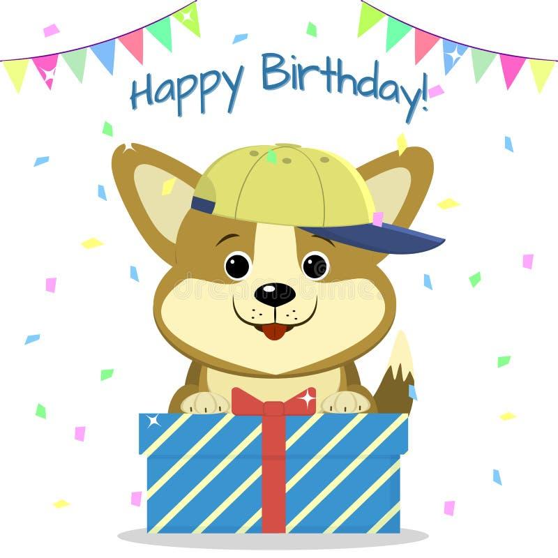 El Corgi del perrito en la gorra de béisbol sienta y sostiene una caja con un regalo en el fondo del confeti y de las banderas Fe ilustración del vector