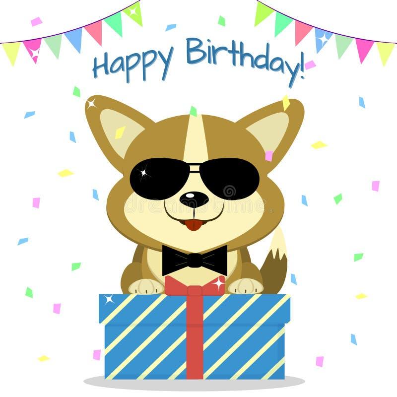 El Corgi del perrito en vidrios negros y una corbata de lazo es que sienta y que sostiene una caja con un regalo en el fondo del  stock de ilustración