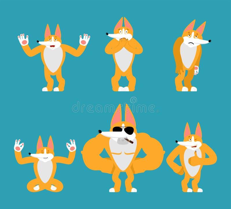El Corgi fijó actitudes Perro feliz y yoga Animal doméstico que duerme y enojado culpable y triste Ilustraci?n del vector ilustración del vector