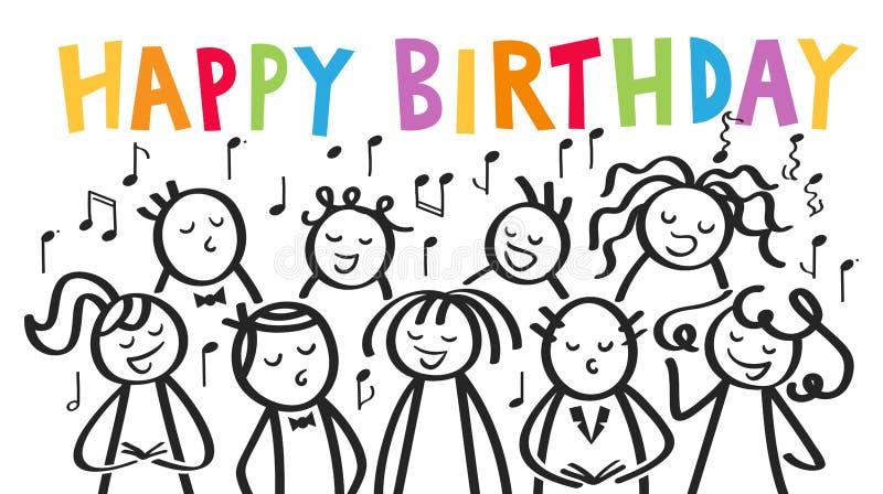 El coro, los hombres y las mujeres cantando FELIZ CUMPLEAÑOS, palillo blanco y negro figura con las letras coloridas libre illustration