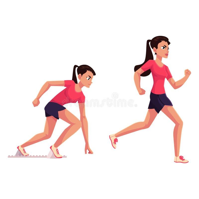 El corredor femenino, esprinter, basculador, alista para comenzar y funcionamiento stock de ilustración