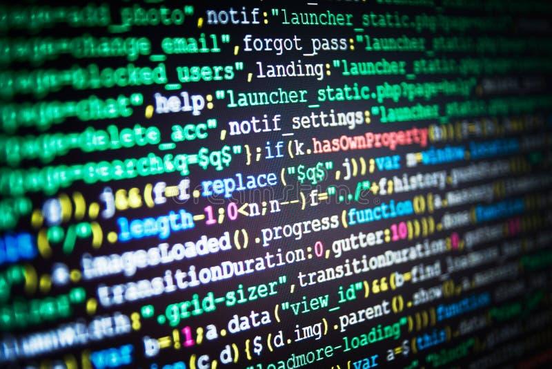 El corregir del código de los dígitos binarios Código fuente del software Red del web y tecnología modernas de la telecomunicació fotos de archivo libres de regalías