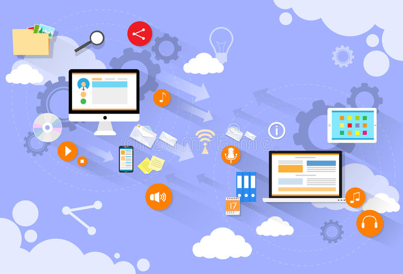 El correo del dispositivo del ordenador envía nube del ordenador portátil diseño plano stock de ilustración