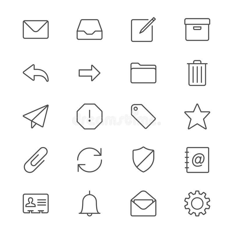 El correo electrónico enrarece iconos ilustración del vector