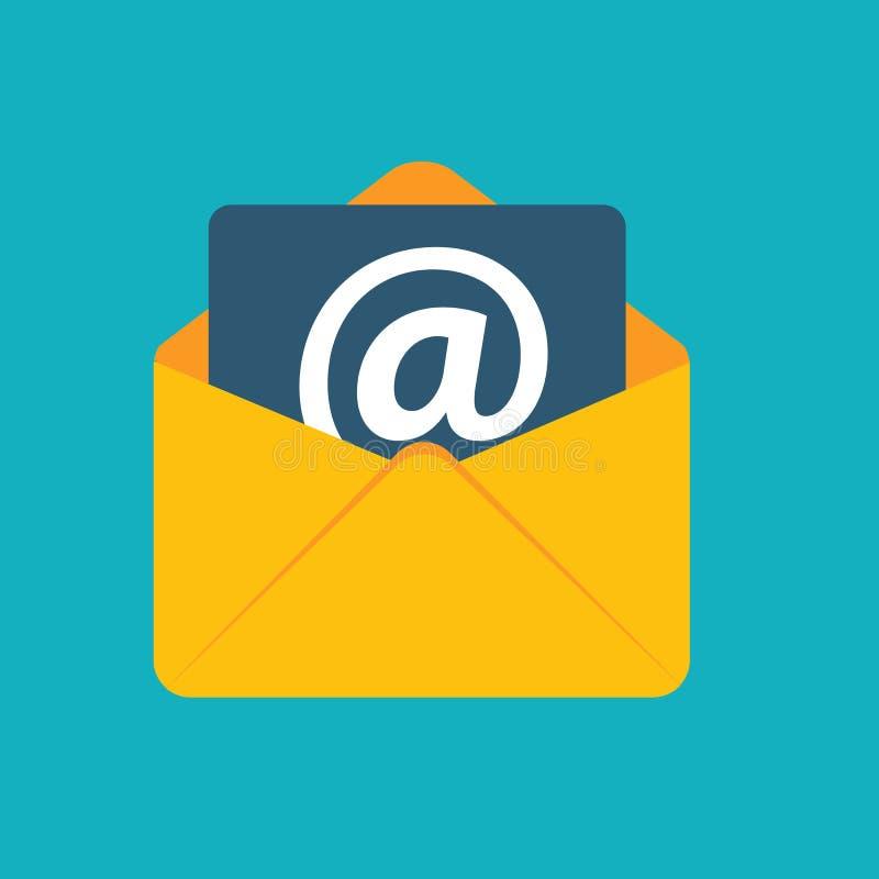 El correo electrónico plano del concepto de diseño envía vector del icono stock de ilustración