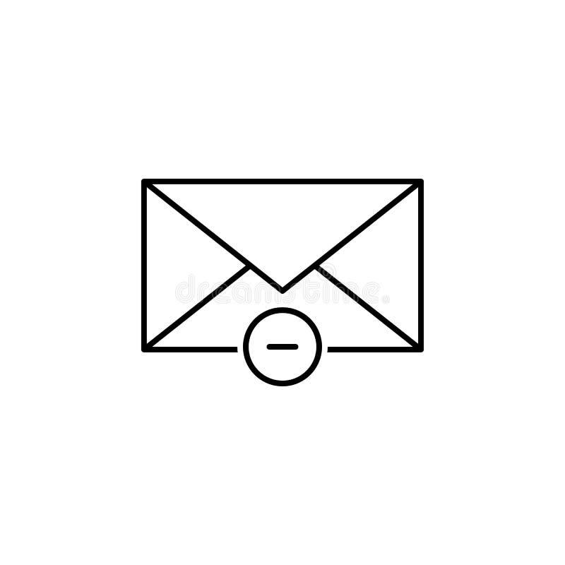 El correo electrónico quita el icono del esquema Las muestras y los símbolos se pueden utilizar para la web, logotipo, app móvil, stock de ilustración